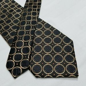 100% Silk JOS A BANK Brown/Gold/Black Tie ~3.25""